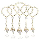 HighFree 30 PCS Baptism Rosary Acrylic Rosary Beads Mini Rosaries Angel with Organza Gift Bags for The First Communion Baptism Party Favors (Beige Gold)