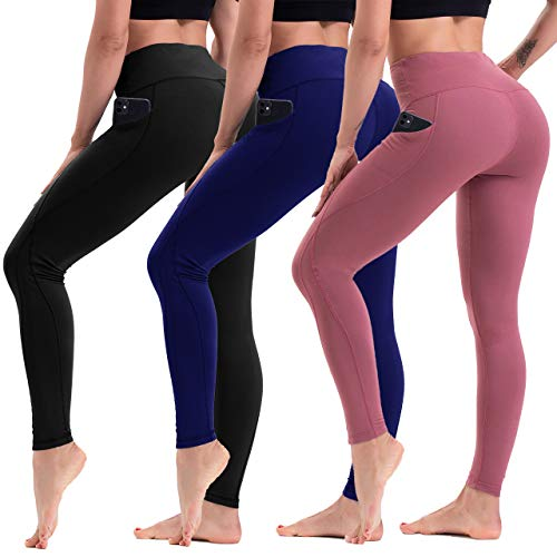 HLTPRO High Waist Yoga Leggings with Pockets for Women (3 Pairs) - Non See Through Yoga Pants for Workout, Running