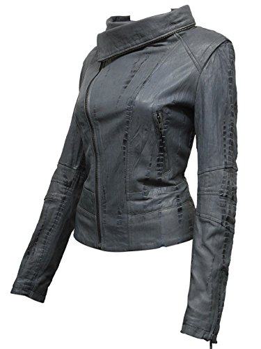 Ladies Womens Grey Leather Biker Jacket from Real Sheep Leather with Washed Waxed Effect Asymmettric BNWT (2X-Large 16)