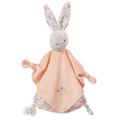 Fehn 062052 Schmusetuch Hase Deluxe | Stofftier-Schnuffeltuch mit Befestigungsring für Schnuller zum Greifen, Fühlen und Liebhaben | Für Babys und Kleinkinder ab 0+ Monaten