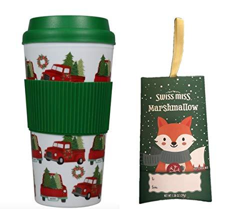 Hot Cocoa Coffee Tea Holiday Travel Mug & Cocoa SET Teacher Kids Boys Girls Gift (Red Truck)