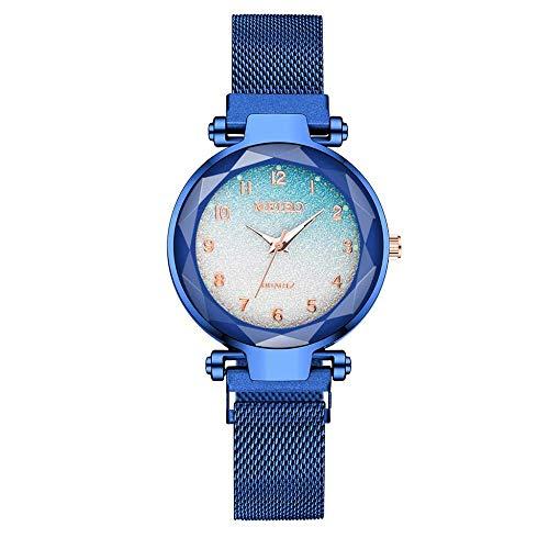 CMXUHUI Chica Reloj Regalo de cumpleaños Regalo del día de Damas Imán Hebilla Degradado Color Reloj Moda Moda Mujeres Reloj de Regalo Reloj Azul