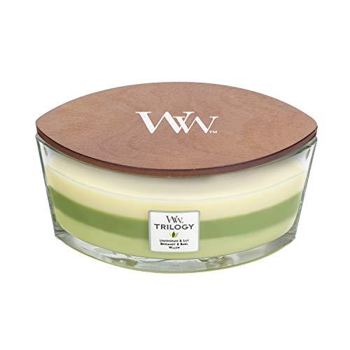 WoodWick Trilogy-Duftkerze im ellipsenförmigen Glas mit HearthWick-Docht, Garden Oasis
