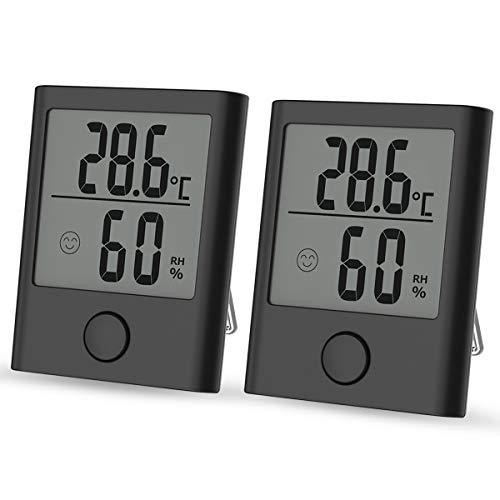 IREGRO Thermometre Interieur, ℃/℉Commutable, pour Détecter humidité et la température, pour Le Confort du Bureau à Domicile Thermo Hygromètre, 2 Pièces (Noir)