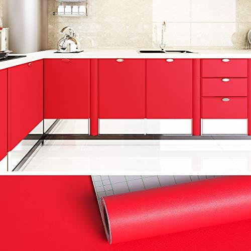 VEELIKE Papel Pintado Rollo Papel Pared Impermeable de Vinilo Papel de Pared Muebles Vinilo Papel Adhesivo Rojo Mate para Dormitorio Sala Encimera Cocina Muebles 40cm x 600cm