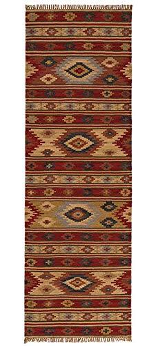 Indian Arts Fair Trade Kashi Kelim-Teppich, 80 % Wolle, 20 % Baumwolle 75 x 240cm