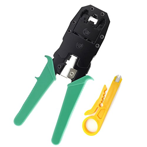 Maxmoral Rj45 Crimper Network Hand Tools, with Mini Cable Punch Down Stripper Cutter - RJ11 RJ12 RJ45 Crimper Pliers, for Network and Telephone Cables Modular Connector Crimping