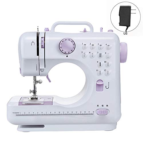 Aslion Desktop Electric Sewing Machine, Heavy Duty Sew Machine 12 Stitches Household Tailor Machine with 2 Speed Foot Pedal Double Thread Automatic Needle Threader Crafting Sewing Machine (US)