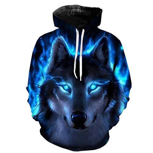 Unisex 3D Druck Fleece Hoodies Pullover Langarm Kapuzenpullover Hip Hop Sweatshirts Kapuzenpulli Lässiger Herrenpullover K-Blue M