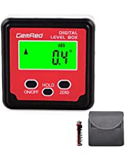 GemRed Digital Level Box Protractor Angle Finder Level Gauge Bevel Gage Inclinometer with Backlight and Magnetic Base (82412-XSB Angle Gauge with Hold Function)