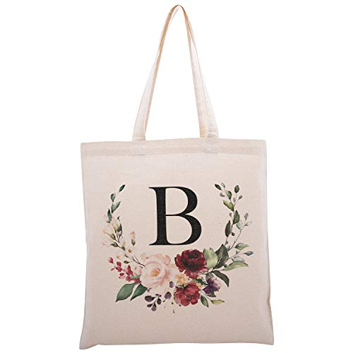 Personalized Floral Initial Cotton Canvas Tote Bag for Events Bachelorette Party Baby Shower Bridal Shower Bridesmaid Christmas Gift Bag | Daily Use | Totes for Yoga, Pilates, Gym, Workout | #2 - B