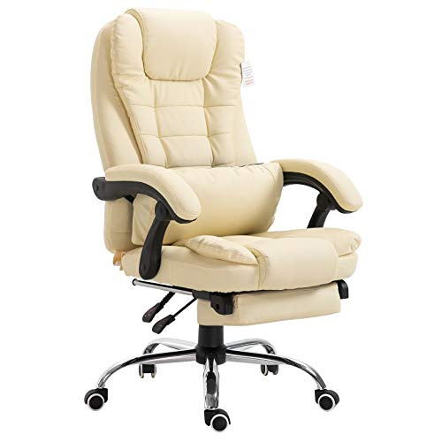 Executive Reclining Computer Desk Chair with Footrest, Headrest and Lumbar Cushion Support Furniture...
