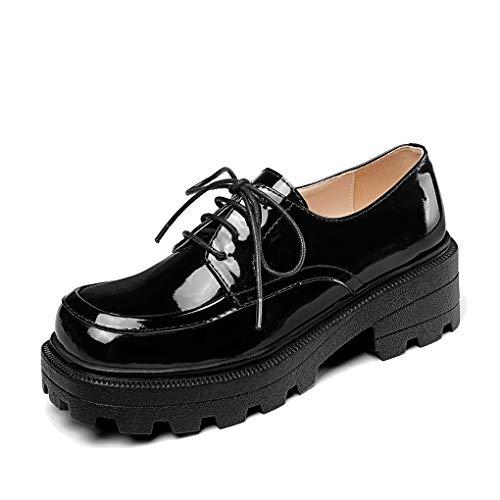ANNIESHOE Blucher Mujer Cuero Cordones Oxford Derby Zapatos con Tacon Plataforma Primavera Otoño Negro 38CN 37.5EU 24cm