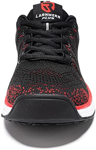 LARNMERN Zapatillas de Running para Hombre Antideslizante Zapatos para Correr y Asfalto Aire Libre y Deportes Calzado Ligero Transpirable(Rojo 43)