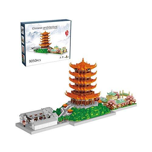 RJJBYY Yellow Crane Tower Universidad de Wuhan Modelo arquitectónico Micro Bloques Bloques de construcción de partículas de Diamante Juguete para Adultos ensamblado de Alta dificultad (9000 Piezas)