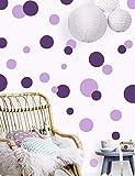 Polka Dot Wall Decals Girls Room Wall Decor Stickers, Wall Dots, Vinyl Circle Peel & Stick DIY Bedroom, Playroom, Kids Room, Baby Nursery Toddler to Teen Bedroom Decoration (Dark & Light Purple)
