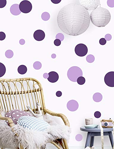Polka Dot Wall Decals Girls Room Wall Decor Stickers, Wall Dots, Vinyl Circle Peel & Stick DIY Bedroom, Playroom, Kids Room, Baby Nursery Toddler to Teen Bedroom Decoration (Dark & Light Purple)