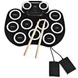 Houssem Electronic Drum Pad Set Roll-up Practice 9 Pads Drum Set With Built-in Speaker, Headphone, USB MIDI Jack for Kids, Teens, and Adults Beginner Best Gift Drum Kit(White)