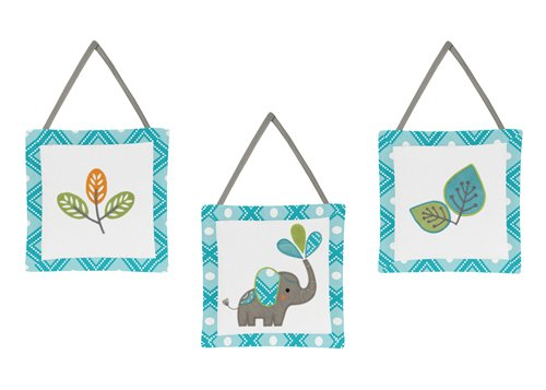 Sweet Jojo Designs Turquoise Blue Gray and White Mod Elephant Girl or Boy Wall Hanging Accessories