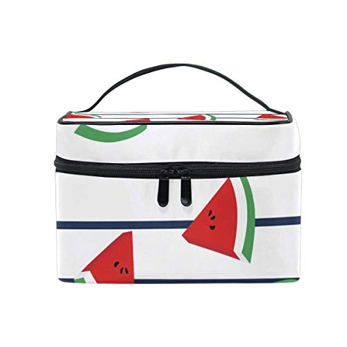 Vanity et Trousses à Maquillage Makeup Cosmetic Bag Watermelon Slices Marine Stripes Portable Travel Train Case Toiletry Bags Organizer Multifunction Storage Travel Daily Carry
