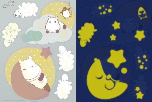 Pabobo Stickers Muraux - Bébé - Hippo - Beige/Taupe