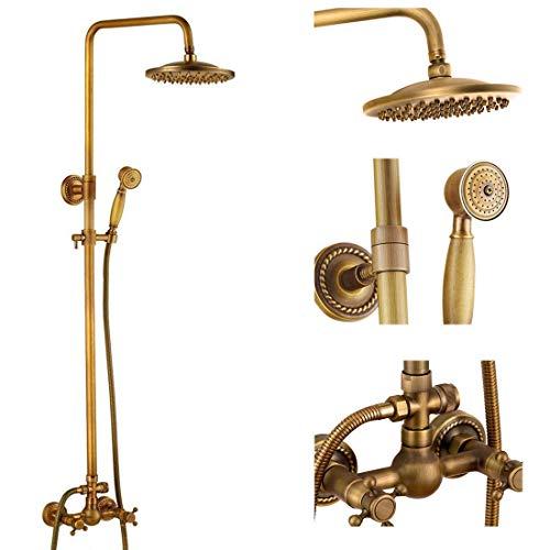 Sistema de Ducha, Juego de grifos de Ducha de latón para baño, Accesorio de Ducha de Oro Cepillado, Cabezal de Ducha de Lluvia de 8 Pulgadas, Mango Cruzado de Ducha de Mano, Juego de Ducha de