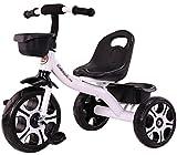 Ckssyao Triciclo de Pedales para Niños Bicicleta de Paseo con Cestas Delanteras y Traseras para Niños de 2 a 6 Años, Ligera y Segura,Blanco
