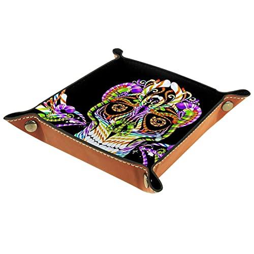Bandeja de valet para almacenamiento de escritorio – Bandeja multiusos de piel sintética para mesita de noche, soporte de dados para llaves, teléfono, cartera, monedas, joyas de calavera colorida1