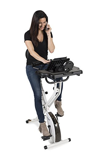 FitDesk FDX 3.0 Desk Exercise Bike and Office Workstation with Massage Bar, White