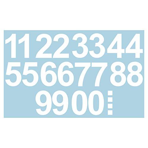 Leicht anzubringende Zahlen Aufkleber 15cm in weiß glänzend - 20 HOCHWERTIGE KLEBEZAHLEN - selbstklebende Ziffern und Nummern 0-9 - Wasser und wetterfest ideal für den Außenbereich