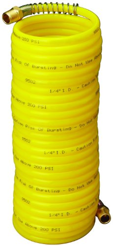 Amflo 4-25E-RET Yellow 200 PSI Nylon Recoil Air Hose 1/4