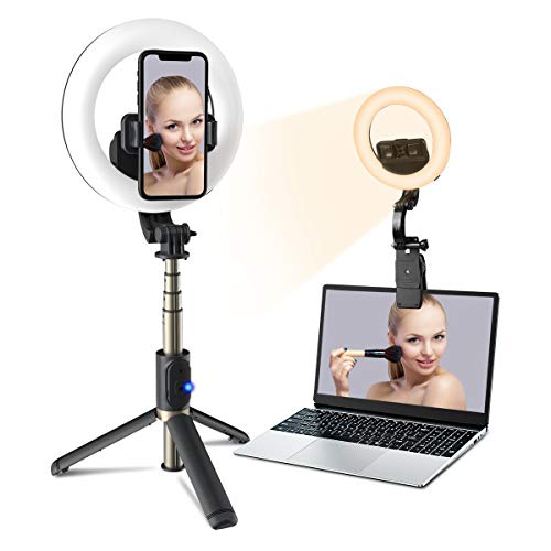 Ringlicht mit Stativ, [Wiederaufladbar] PANMAX 6.3 Zoll Selfie Ringleuchte mit Telefonhalter/Laptop Klemme Füllen Sie das Licht für Self-Porträt, Make-up,Videokonferenz, YouTube, Tiktok, Live-Stream