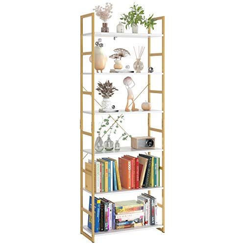 Homfa Industrial Bookcase 6-Tier 275L x 118W x 765H Inches Free Standing Plant Flower Stand Rack Books Display Shelf with Metal Frame Multipurpose Utility Organizer Shelf for Home Office Gold