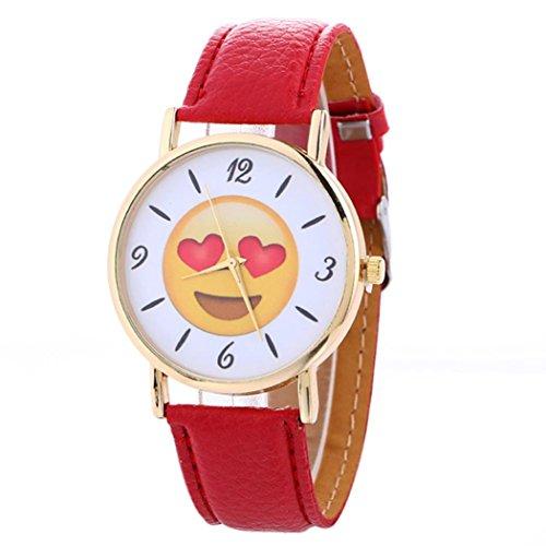Hansee Uhr, Mode Frauen Neutral Niedlich Ausdruck Leder Quarz Armbanduhr Casual Armband (Rot)