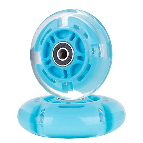 AOWISH 2-Pack Light Up Scooter Rear Wheels 80mm Flash Flashing Inline Skates Replacement Wheel with Bearings ABEC 9 for Adjustable 3-Wheel Kick Scooters (Blue)