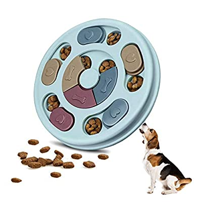 Dog Puzzle Slow Feeder Toy Interactive Dog Brain Games with Treat Dispenser Round Durable Interactive for Cats Puppy Medium Dogs IQ Improve Non-Slip Dog Training Funny Feeding