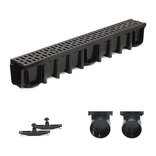 1m Entwässerungsrinne Terrassenrinne, System A15 148mm Stegrost Kunststoff, schwarz-classic, komplett SET