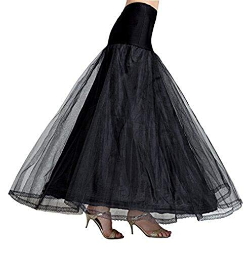 A-Line Mujer Enagua Blanca Negra Crinolina Larga para Vestidos Faldas de Novia Boda Noche 3 Capas 1 Aros