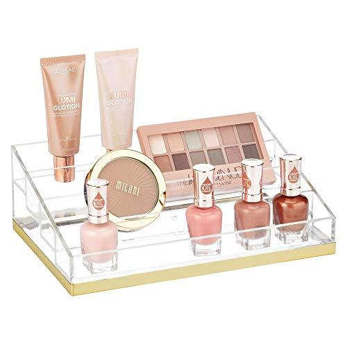 mDesign Organizador de Maquillaje – Caja organizadora biselada con 4 Compartimentos para labiales, esmaltes, etc. – Organizador de cosméticos para baño o tocador – Transparente y Dorado latón
