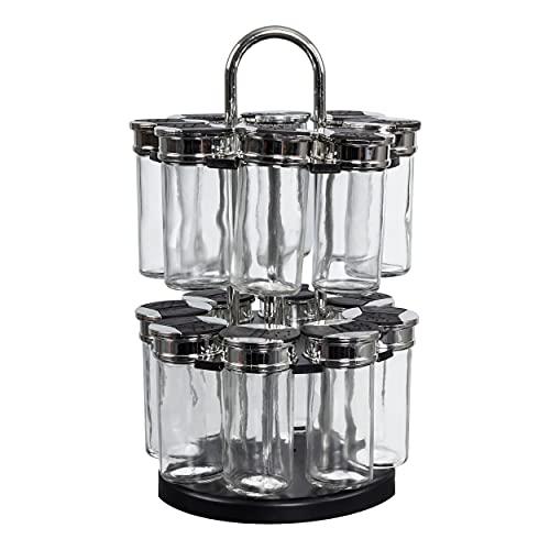 S&D Saveur et Dégustation KB5669 Carrousel à épices Distributeur rond rotatif 16 pots 2 étages Noir gris et transparent Plastique et verre Couvercles double clapets D19 x H31,5 cm