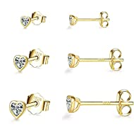 Gulicx 3 Pairs Silver 14K Gold Heart Stud Earrings Set for Women Girls, Hypoallergenic 925 Stering S...