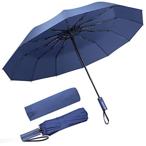 SoataSoa Regenschirm sturmfest bis 140 km/h-Regenschirm groß Leichter und kompakter Damen Regenschirm Herren mit Auf-Zu-Automatik - windsicherer Taschenschirm mit Tasche, Etui und Teflon-Beschichtung