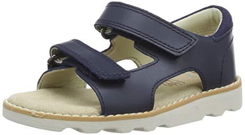 Clarks Crown Root T, Sandali con Cinturino alla Caviglia Bambino, Blu (Navy Leather-), 26 EU