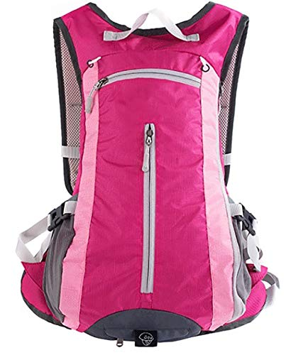 PANXIAO Trekking Rucksack Male,15L Waterproof Backpack for Ultralight Rucksack Cycling Camping Climbing Hiking Travel Bag with Helmet net Cover (Color : Rose red)