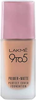 Lakme 9To5 Primer + Matte Perfect Cover Foundation, C140 Cool Rose, 25 ml