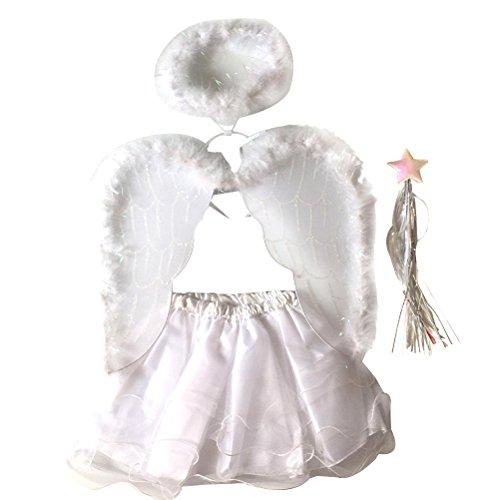 Tinksky Set Trajes del ángel del sistema del * 4pcs / set de la falda del tutú de la varita del ala de la venda Traje determinado del hada de las muchachas del ángulo de la pluma (ángel)