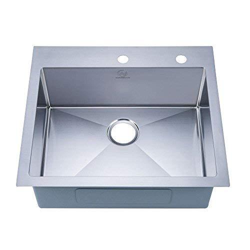 "Stufurhome NW-2522SO Drop-in Stainless Steel 25"" 2-Hole Single Bowl Kitchen Sink"
