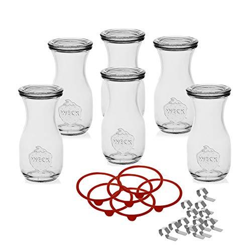 Weck 6 Gläser Flaschen, 290ml mit Deckel, Klammern und Einkochring-Original, Durchsichtig