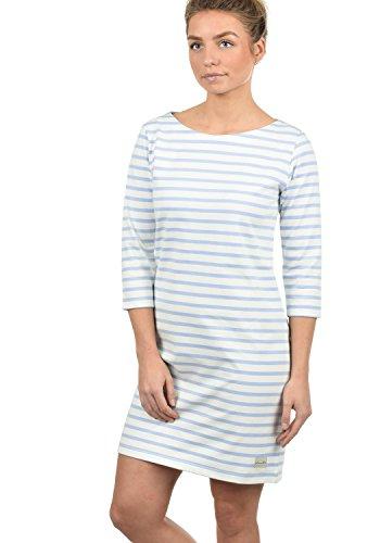 BlendShe Eni Damen Sweatkleid Sommerkleid Kleid Mit Streifen-Optik Und U-Boot-Kragen Aus 100% Baumwolle, Größe:L, Farbe:Cashmere Blue (20243)