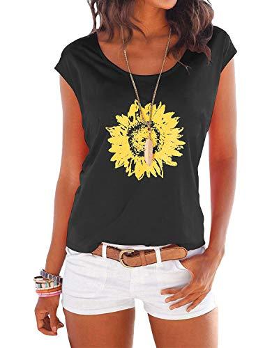 YOINS T-Shirt Damen Shirt Oberteile Sexy Oberteil für Damen Tops Sommer Einfarbig Ärmellos Rundhals mit Sterne Daisy-Schwarz S